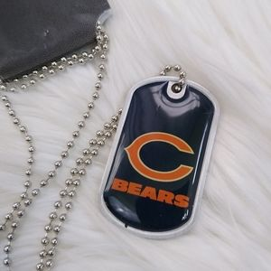 Chicago Bears Dog Tag Silver Chain Necklace